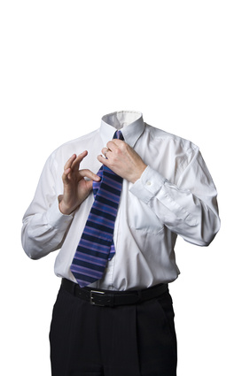 Headless businessman on white